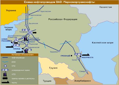 Схема нефтепроводов ОАО «